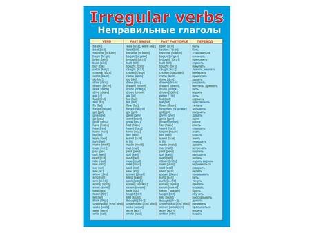 Озвученные неправильные глаголы английского языка